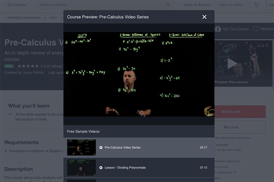 Jesse Patrick's online course presentation