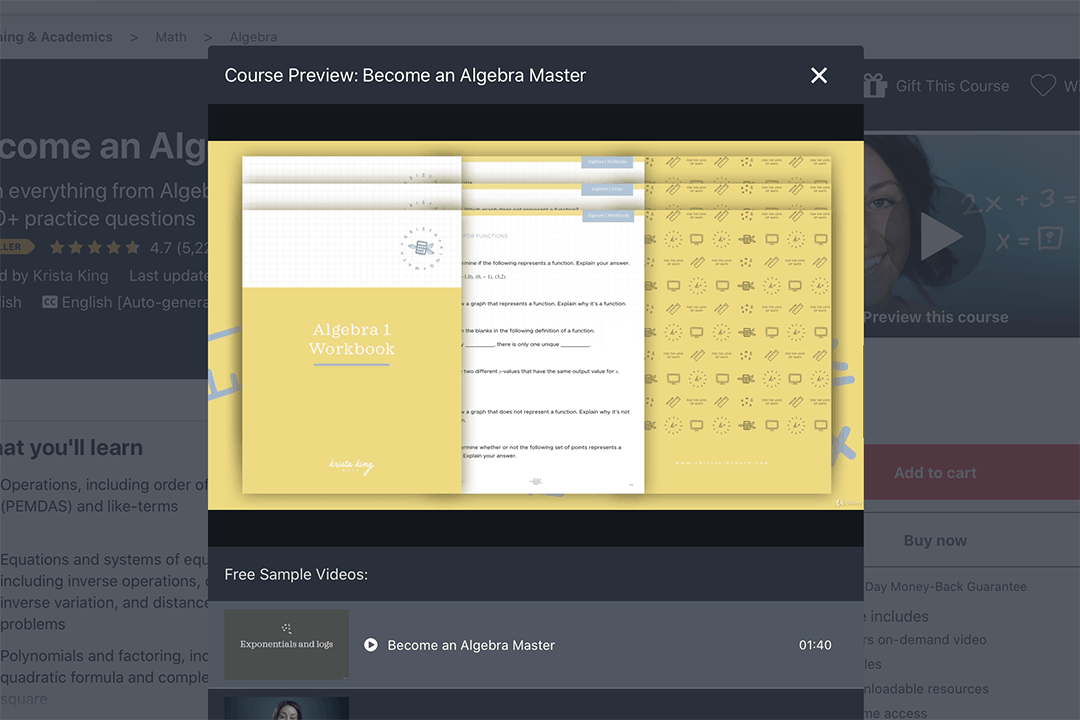 become an algebra master online course preview