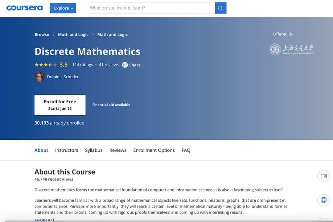 coursera webpage for the discrete math course