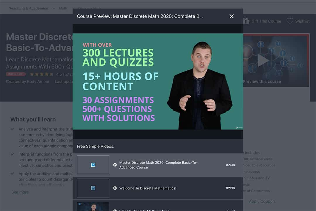discrete maths coures instructor preview
