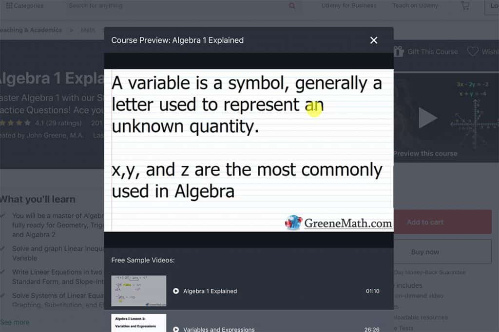 algebra 1 explained by John greene course preview