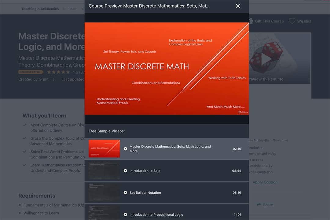 master discrete maths course preview by grant hall