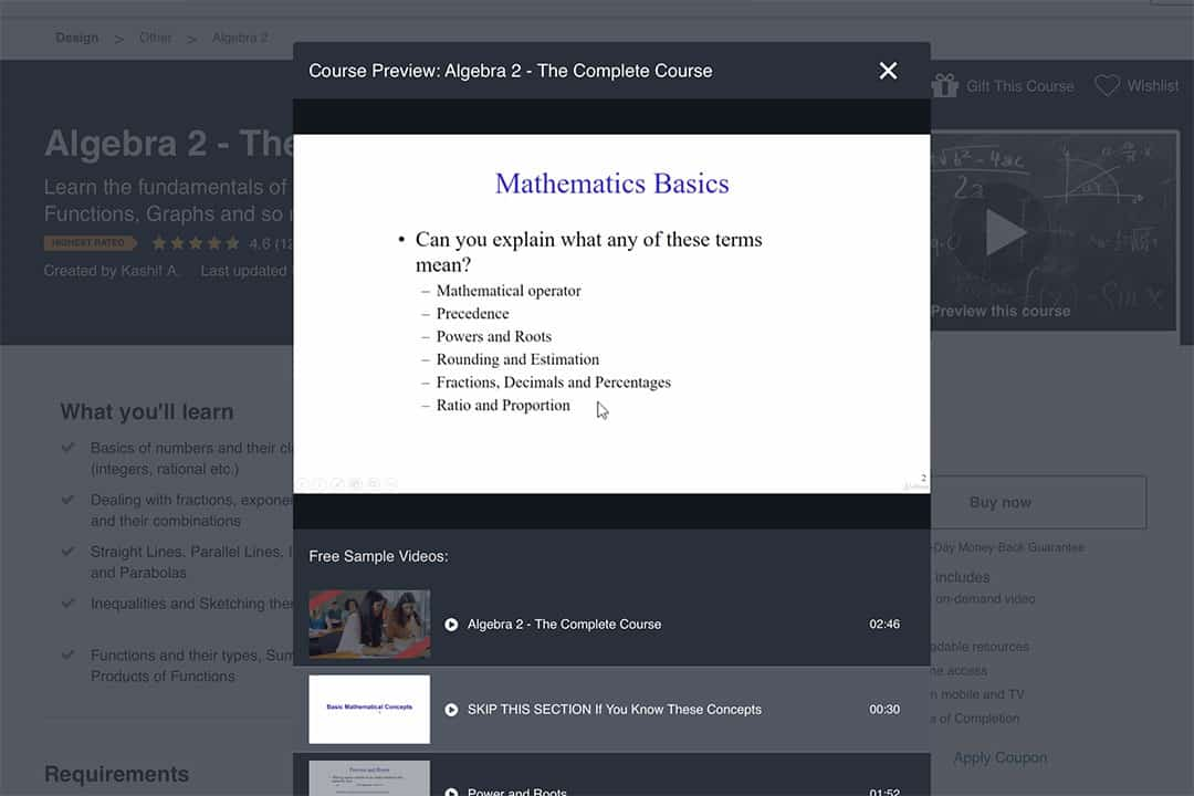 mathematics basics course preview