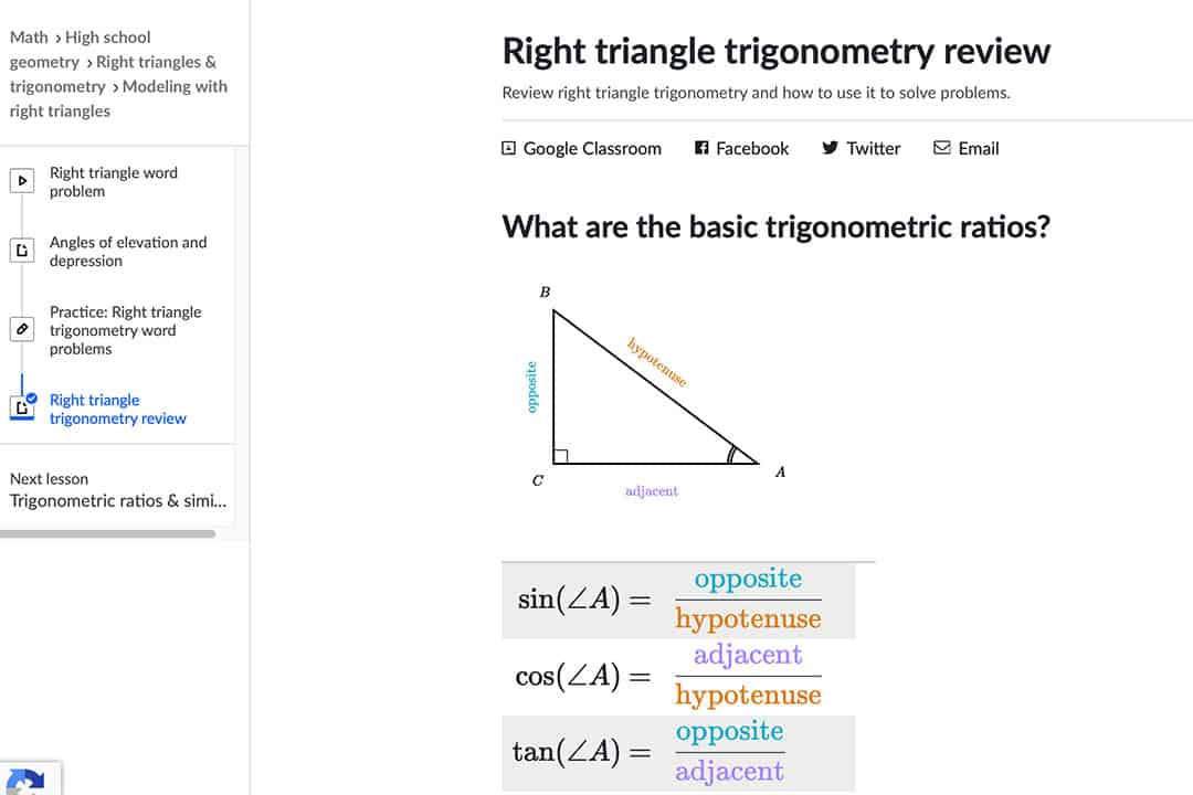 right triangle trigonometry problem on khan academy's course page